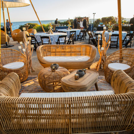 Rattan Lounge Furniture at Beachfront Tribal Theme Event