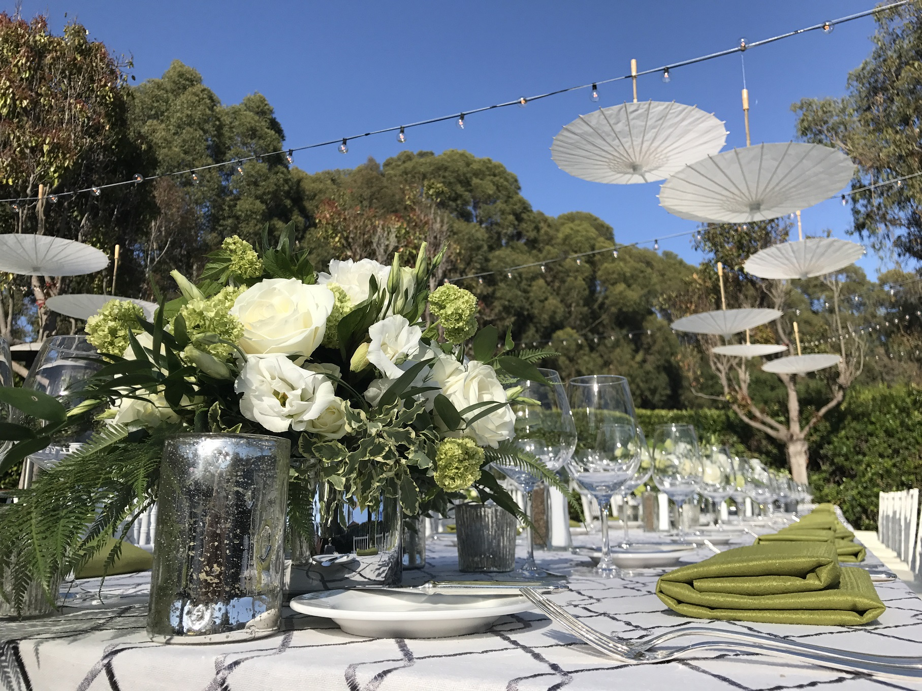 Red and White Floral decor at picturesque Alisal Lake