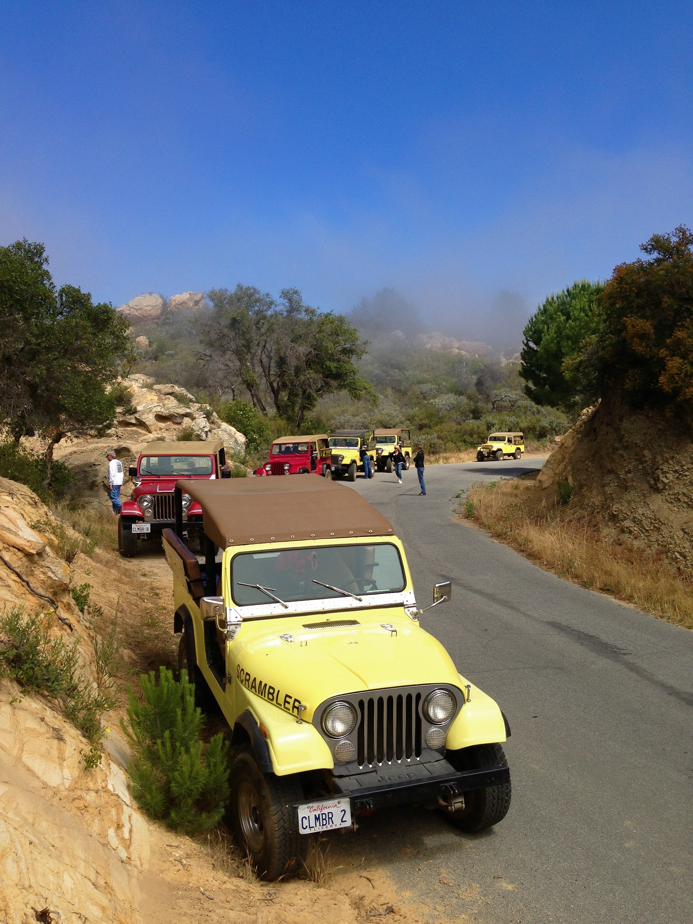 Yellow and Red Jeeps at the side of a California Mountain Road