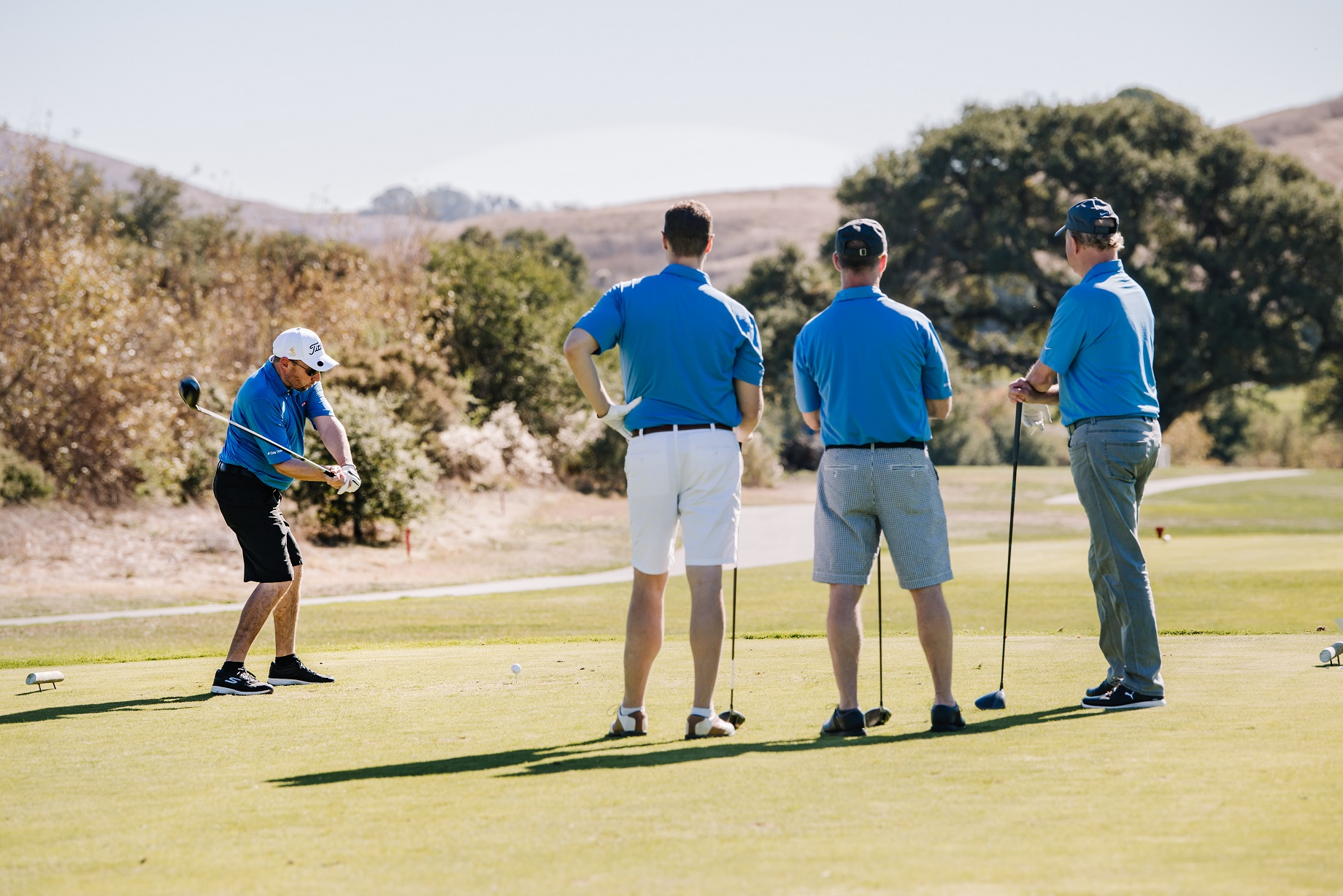 A group of golfers in Napa enjoying the course